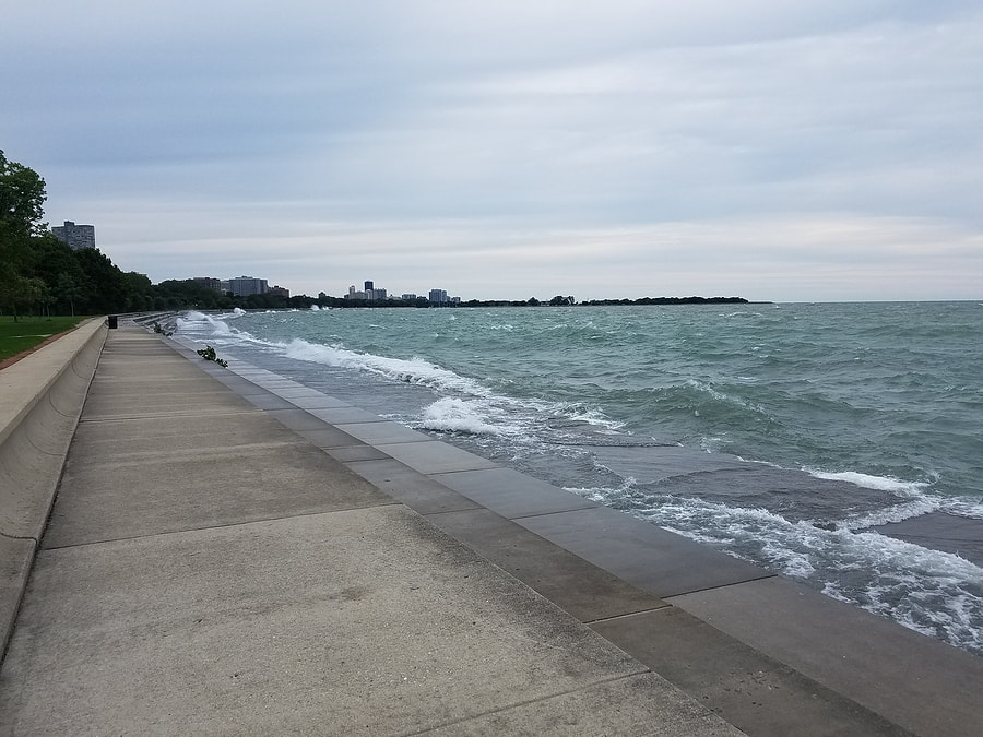 Seawall on Lake Michigan during rough waters